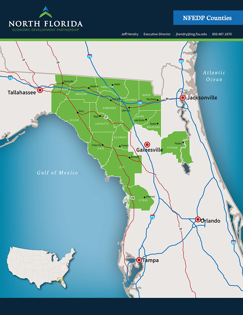 Central Florida County Map.North Florida Economic Development Partnership