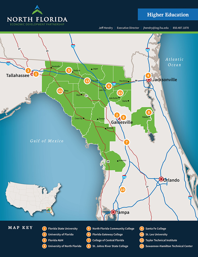 North florida economic development partnership click for a larger map of the regions higher education institutions north florida economic development partnership 1betcityfo Image collections