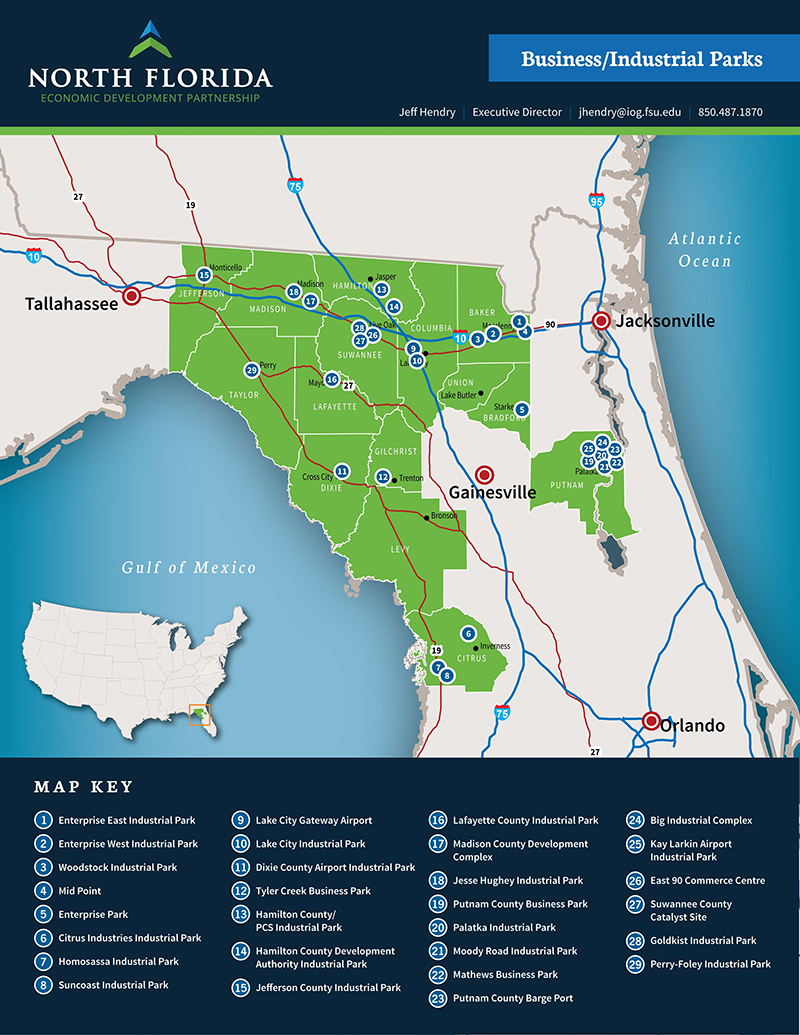 Map Of North Central Florida.Key Industries In North Central Florida