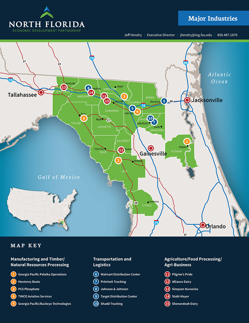North Central Florida Map.Agriculture Based Industries In North Central Florida